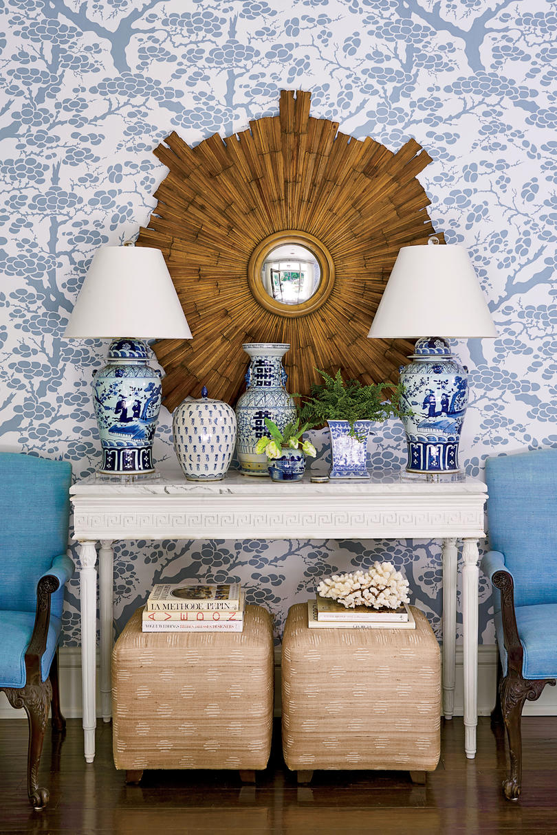 Allison Allen Inherited Home Front Entry with Blue Wallpaper