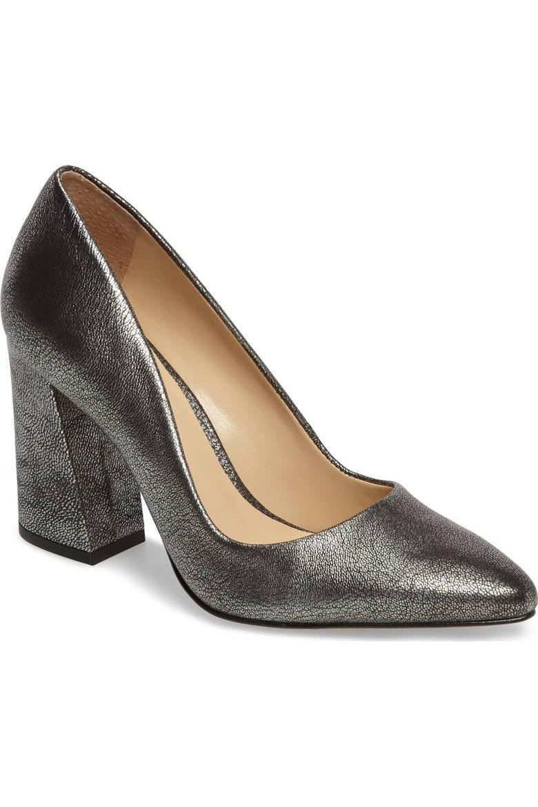 Vince Camuto Pewter Leather Pump