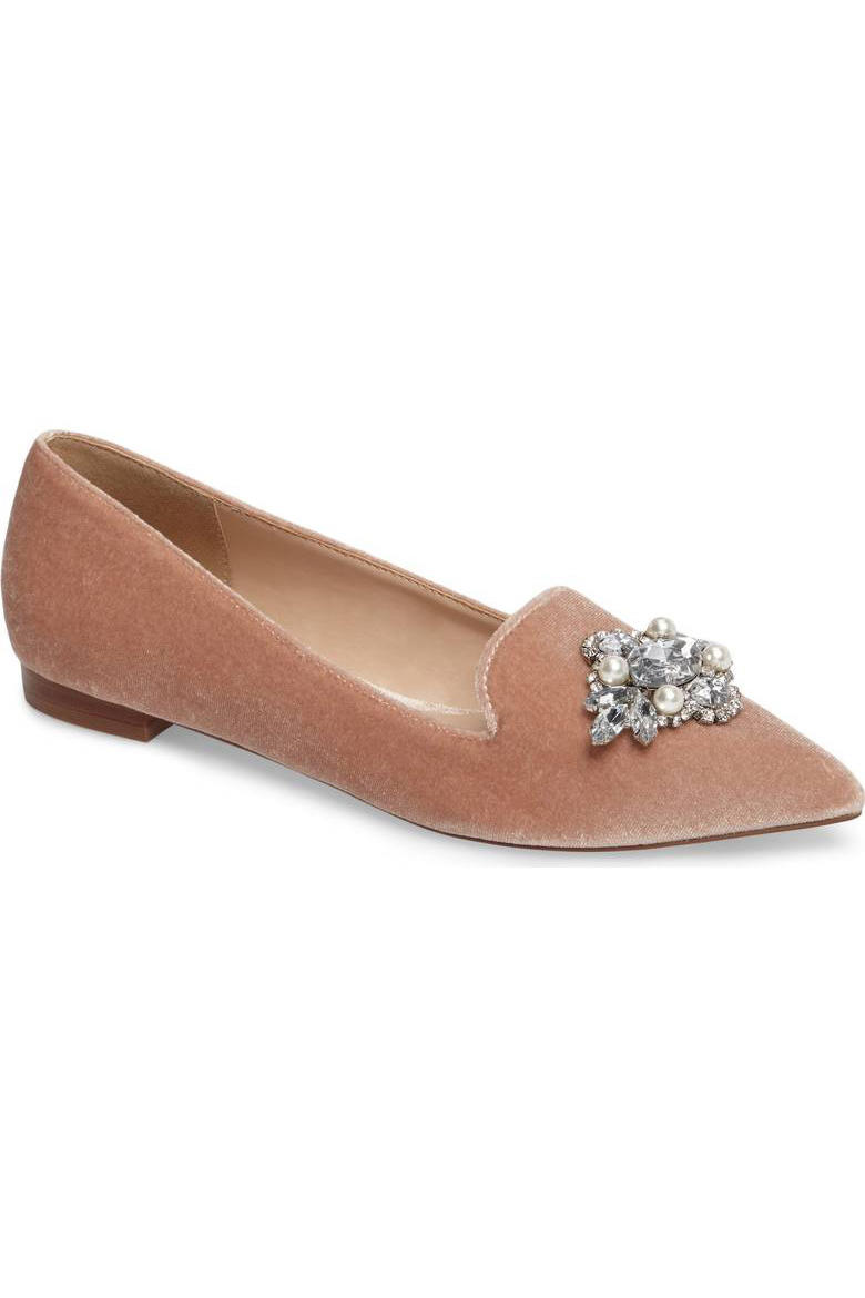 Rose Gold Velvet Embellished Flat