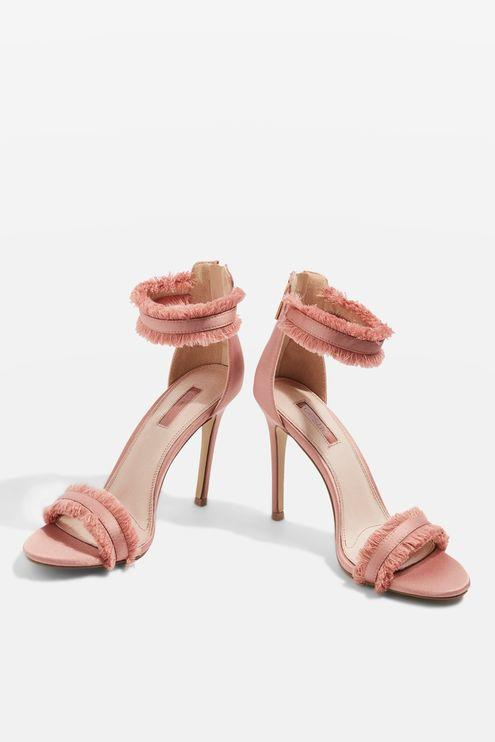 Pink Satin Fringe Pumps