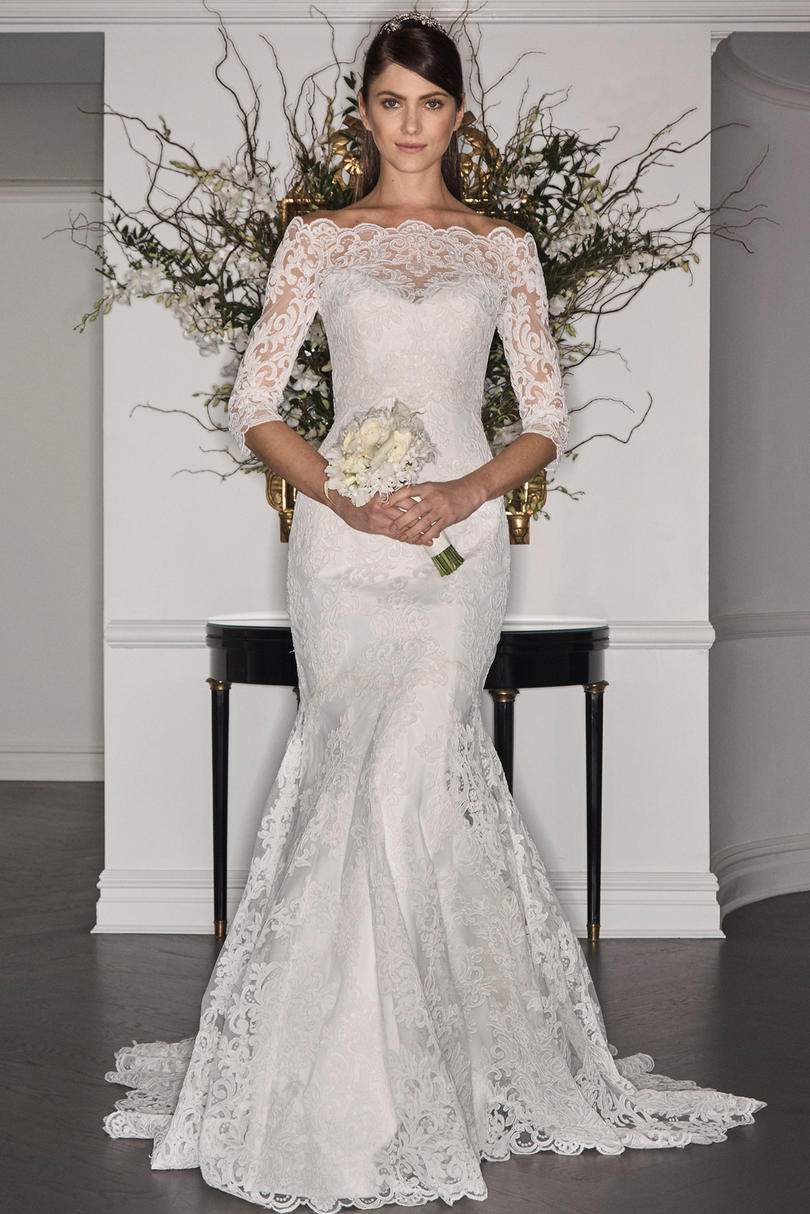 Off the Shoulder Lace Illusion Mermaid Gown