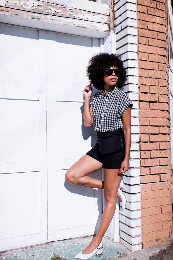 20 Stylish Ways to Wear Plaid: Gingham Button Down With High Waisted Shorts