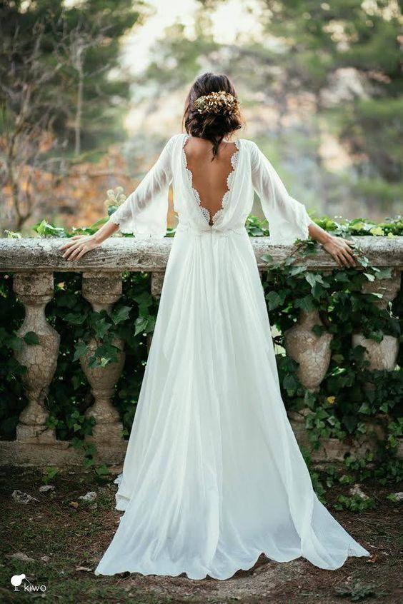 Boho Chic Deep V Back Gown