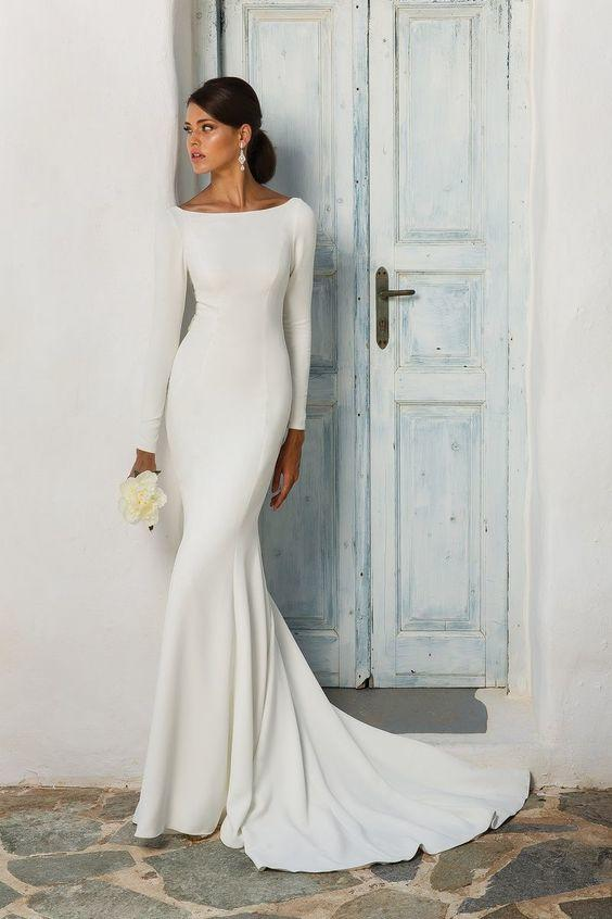 Simple And Sleek Long Sleeve Boatneck Gown