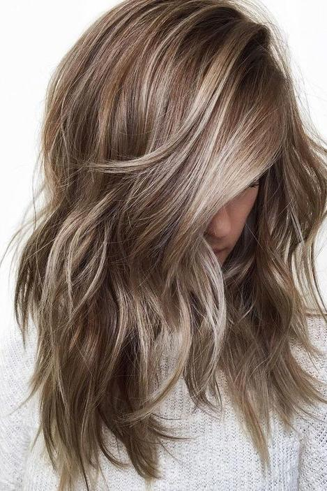 Ash Blonde Highlights On Brunette