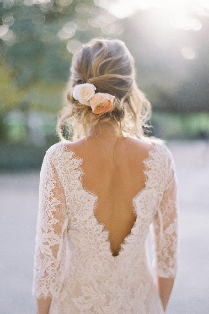 Long Sleeve Low Back Lace Gown