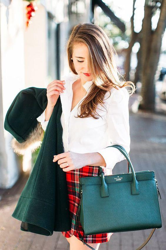 Red Tartan Mini Skirt with Green Accents