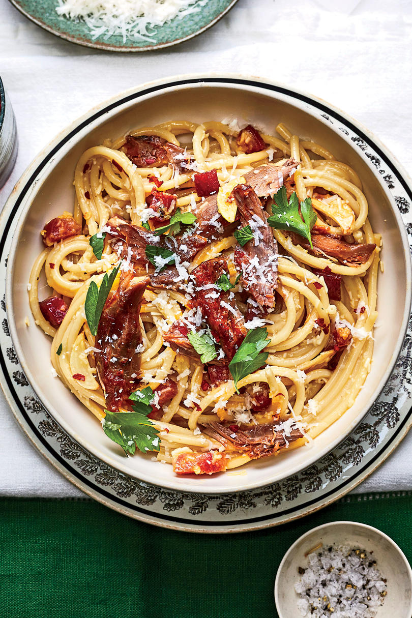 Carbonara with Braised Lamb
