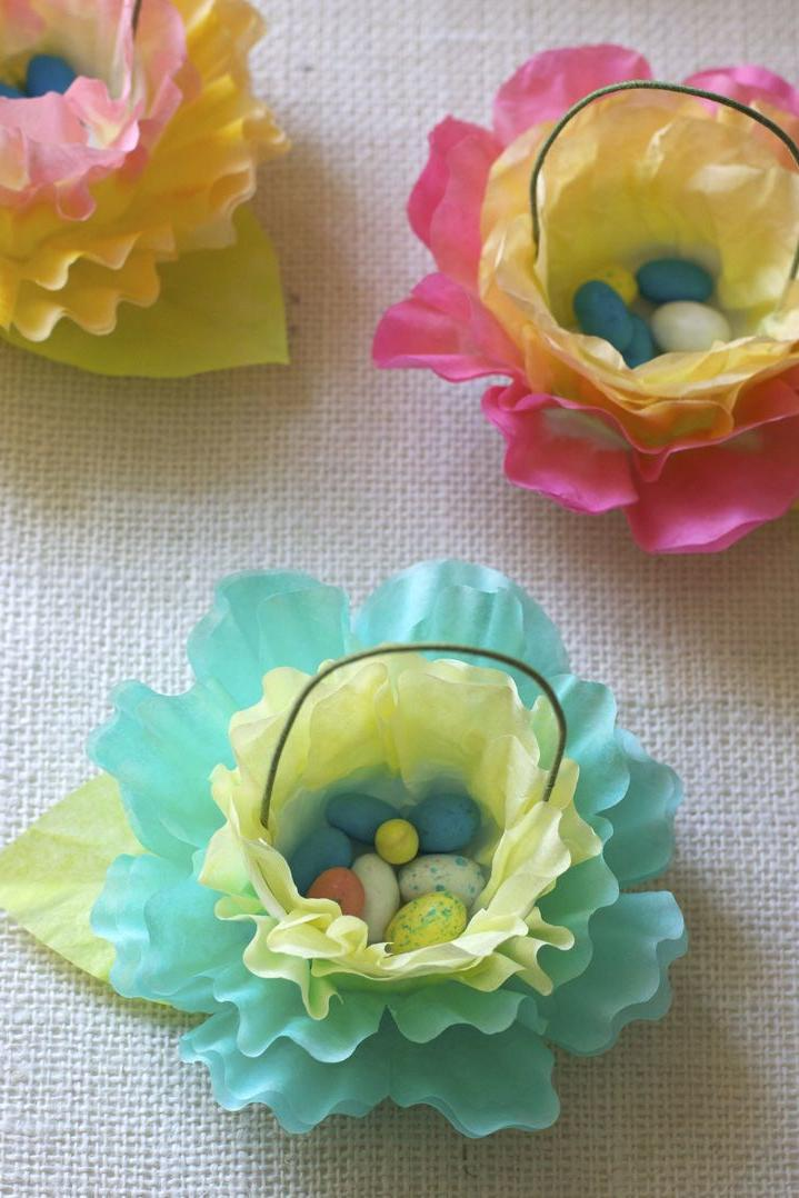 Coffee Filter Flower Easter Baskets