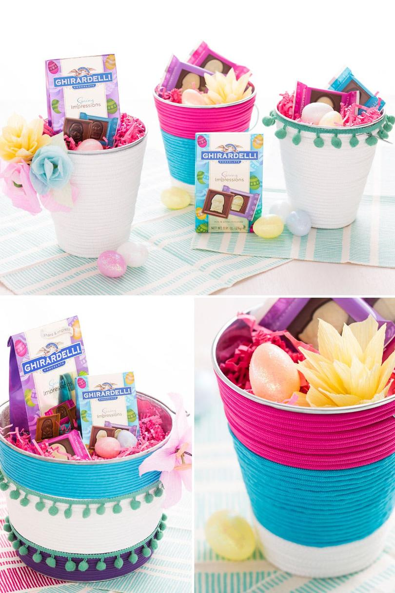 Easter basket ideas for kids teenagers and adults southern living colorful bucket easter baskets negle Image collections