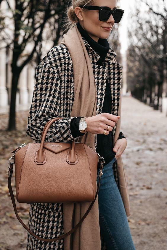 Neutral Checked Plaid Coat