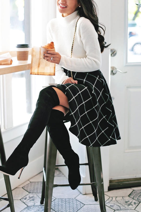 Windowpane Plaid Skirt with Over The Knee Boots