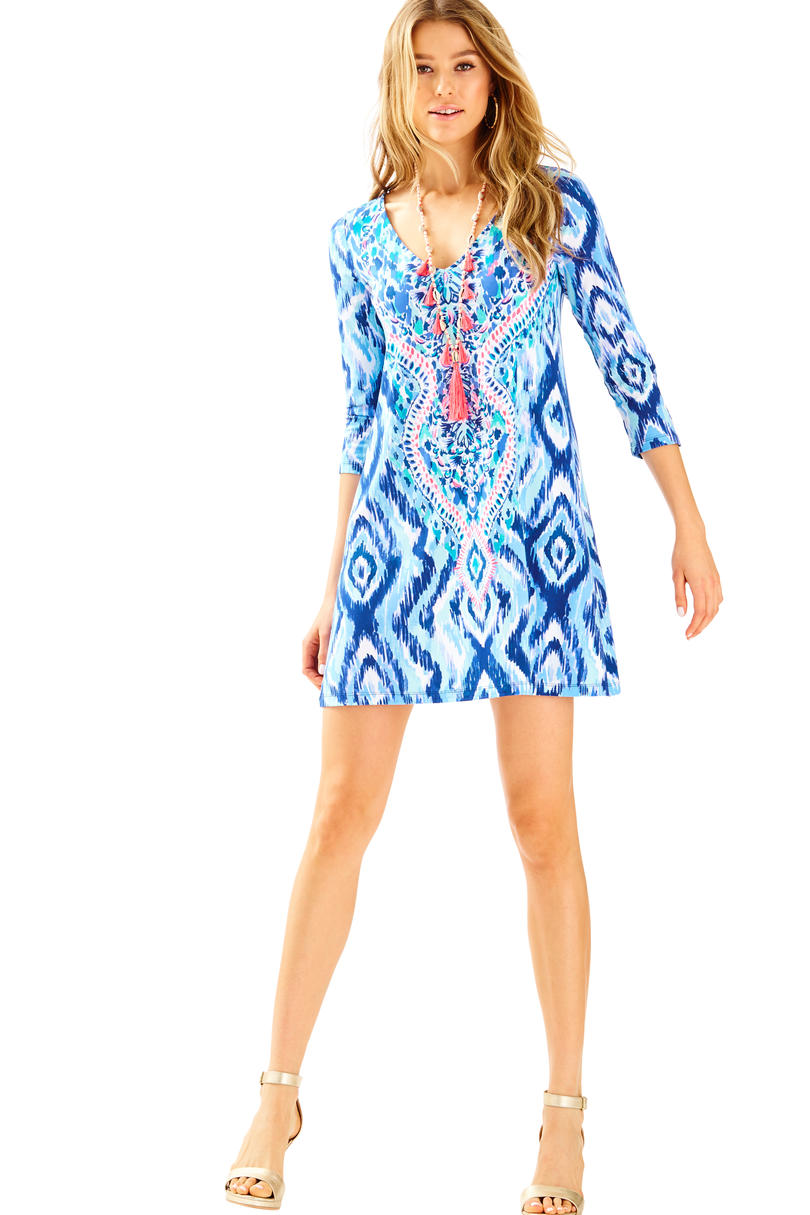 Lilly Pulitzer Ophelia Dress in Blue Swish Skipped A Beach Engineered
