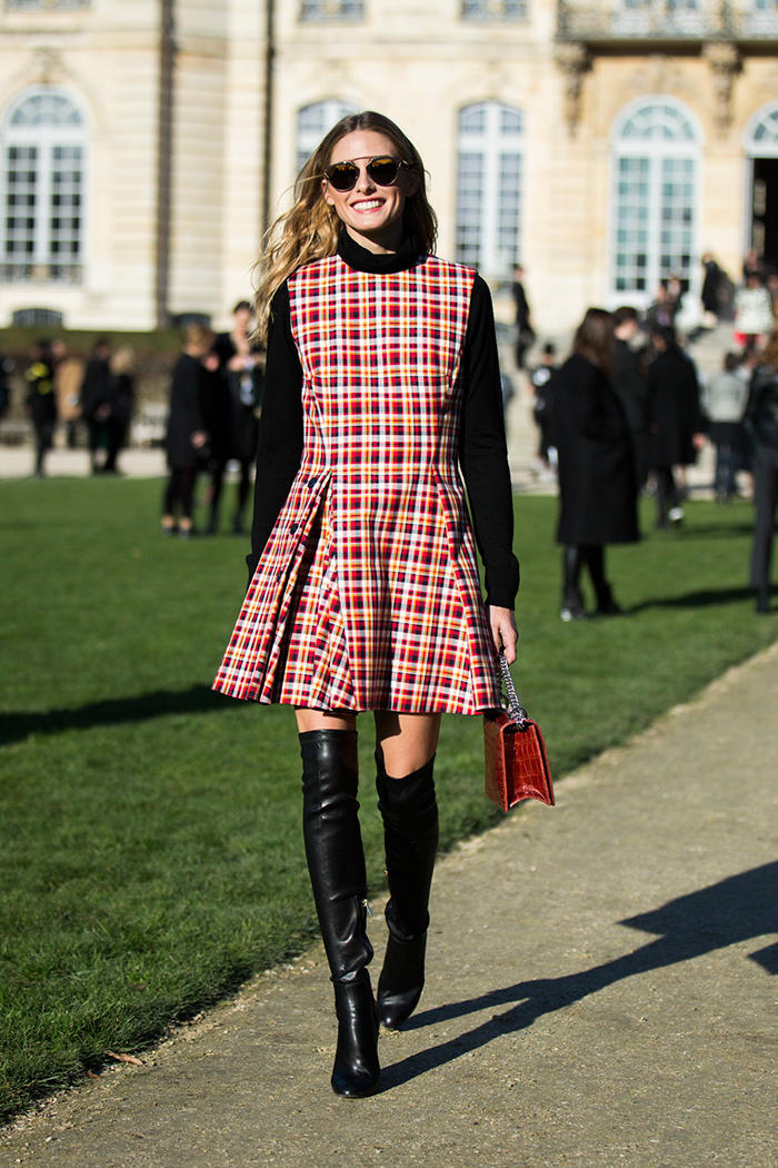 Red Tartan Skater Dress with Black Leather Boots