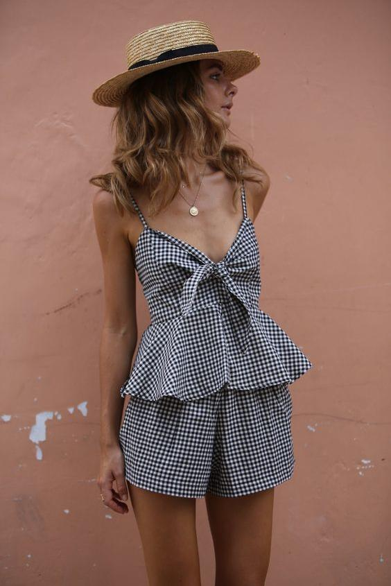 Gingham Two Piece Set with Boater Hat