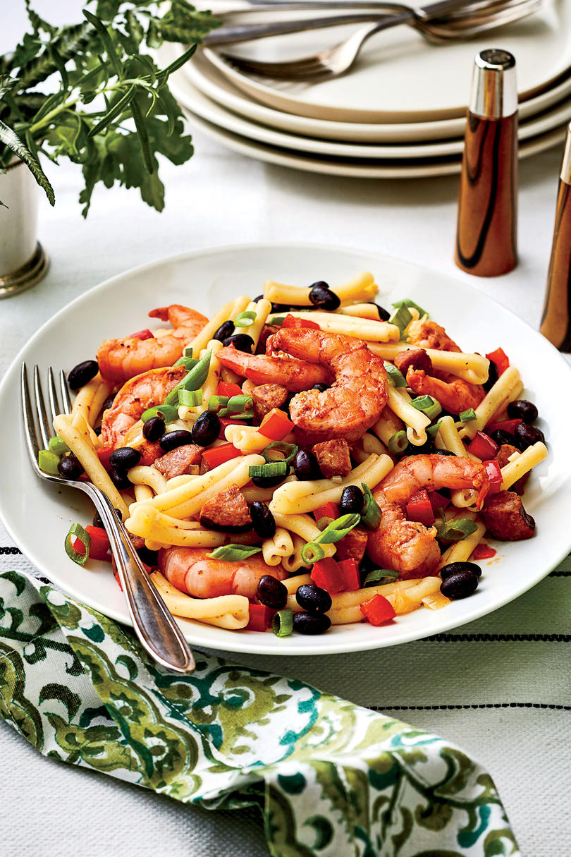 Shrimp, Sausage, and Black Bean Pasta