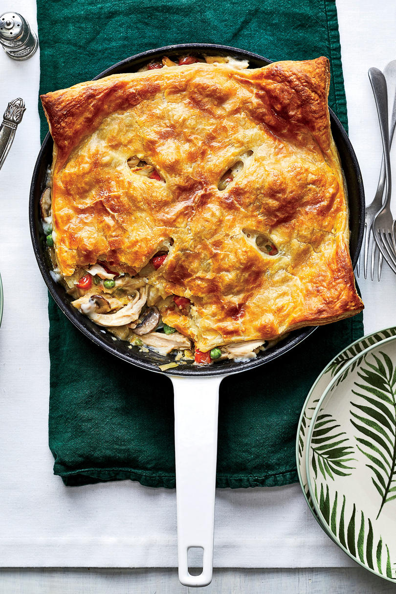 Skillet Chicken Pot Pie with Leeks and Mushrooms