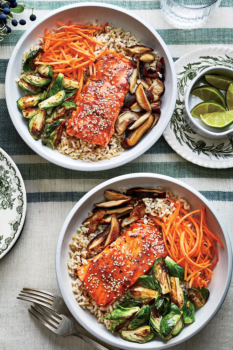 Teriyaki Salmon Bowls with Crispy Brussels Sprouts
