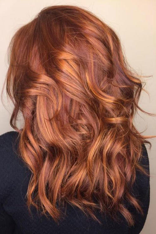 Coppery Red with Caramel Honey Balayage