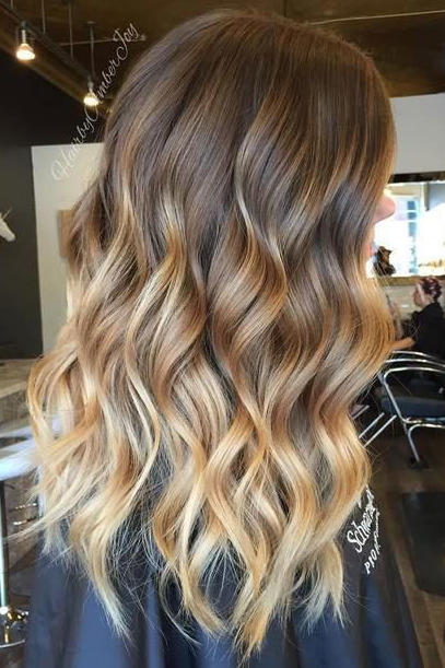 Ash Brown Hair with Golden Blonde Ombré
