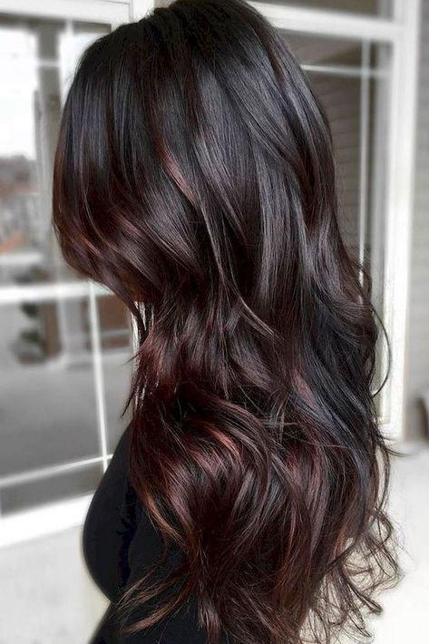 Black Hair with Cherry Cola Balayage