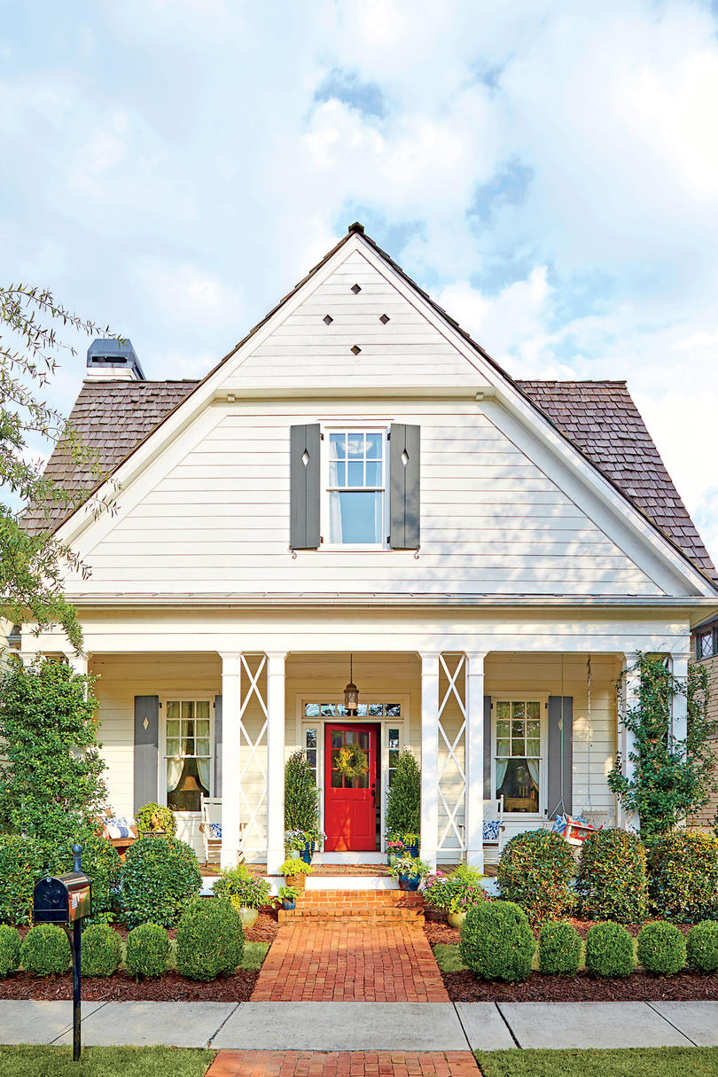 Farmhouse Curb Appeal with Red Front Door