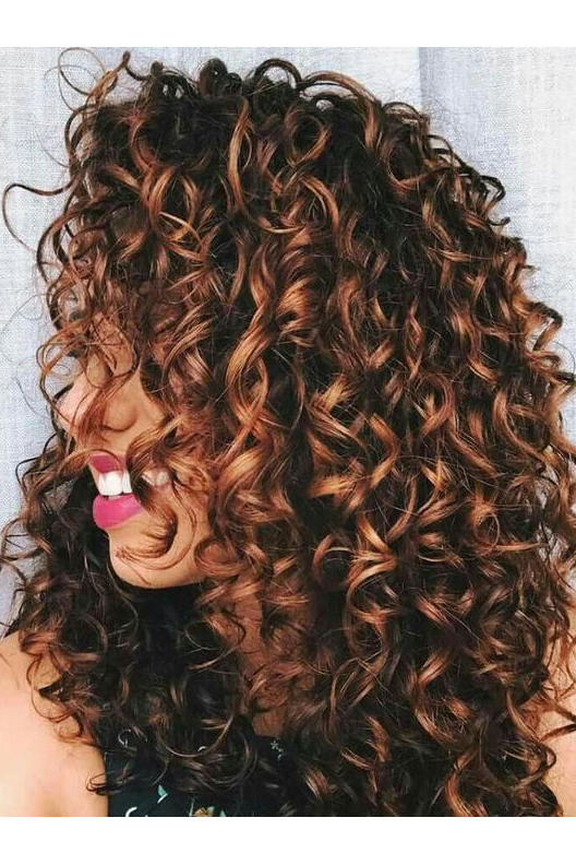 Brunette Curls with Auburn Balayage