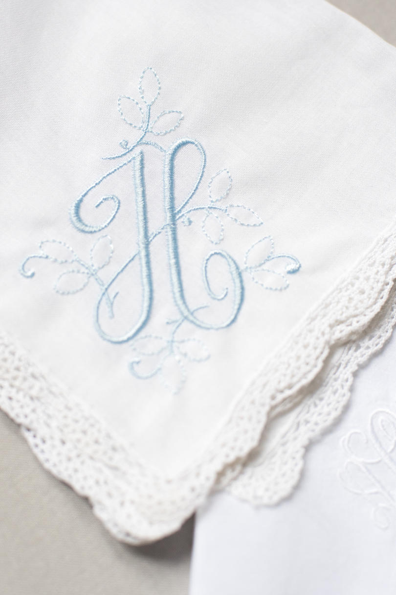 Wedding Handkerchief with Blue Stitching
