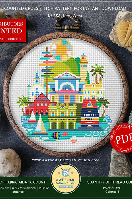 RX_1802_Key West Pattern_Cross Stitch