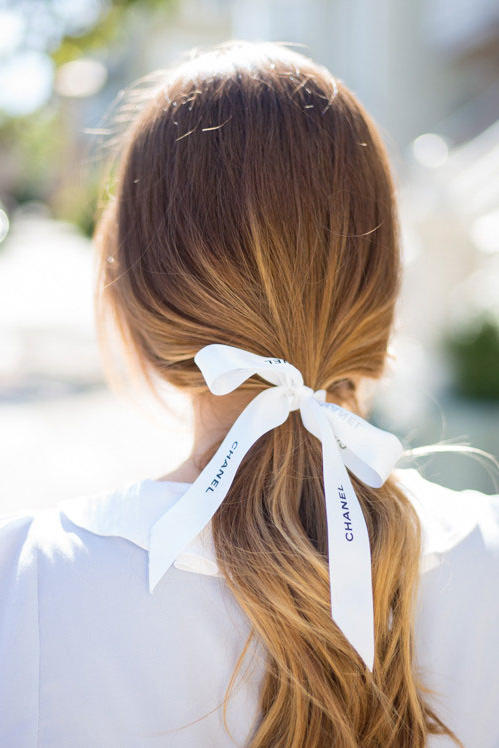 Low Ponytail with Ribbon
