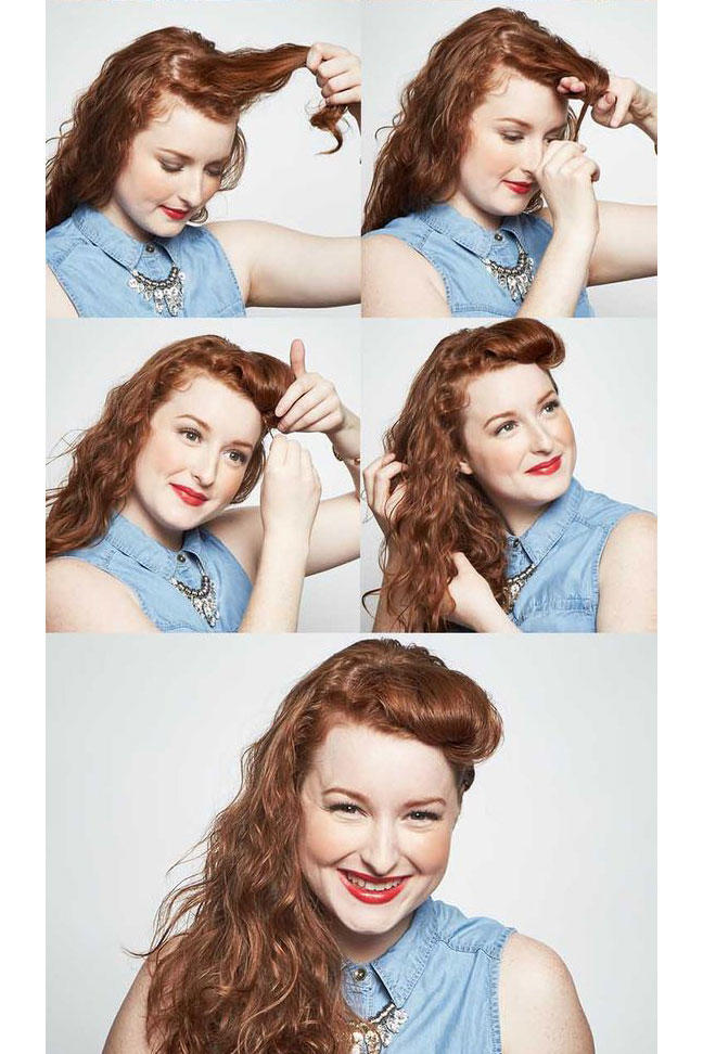 curly hair pinup styles 25 easy and hairstyles for curly hair southern living 8755 | wavy pinup bangs