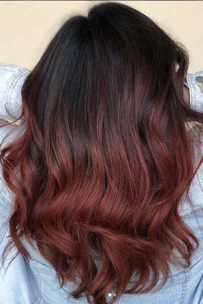 Deep Brown with Scarlet Balayage