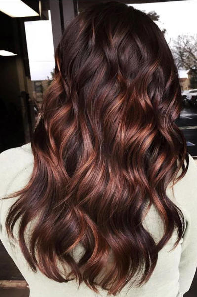 Aubergine Red with Copper Balayage