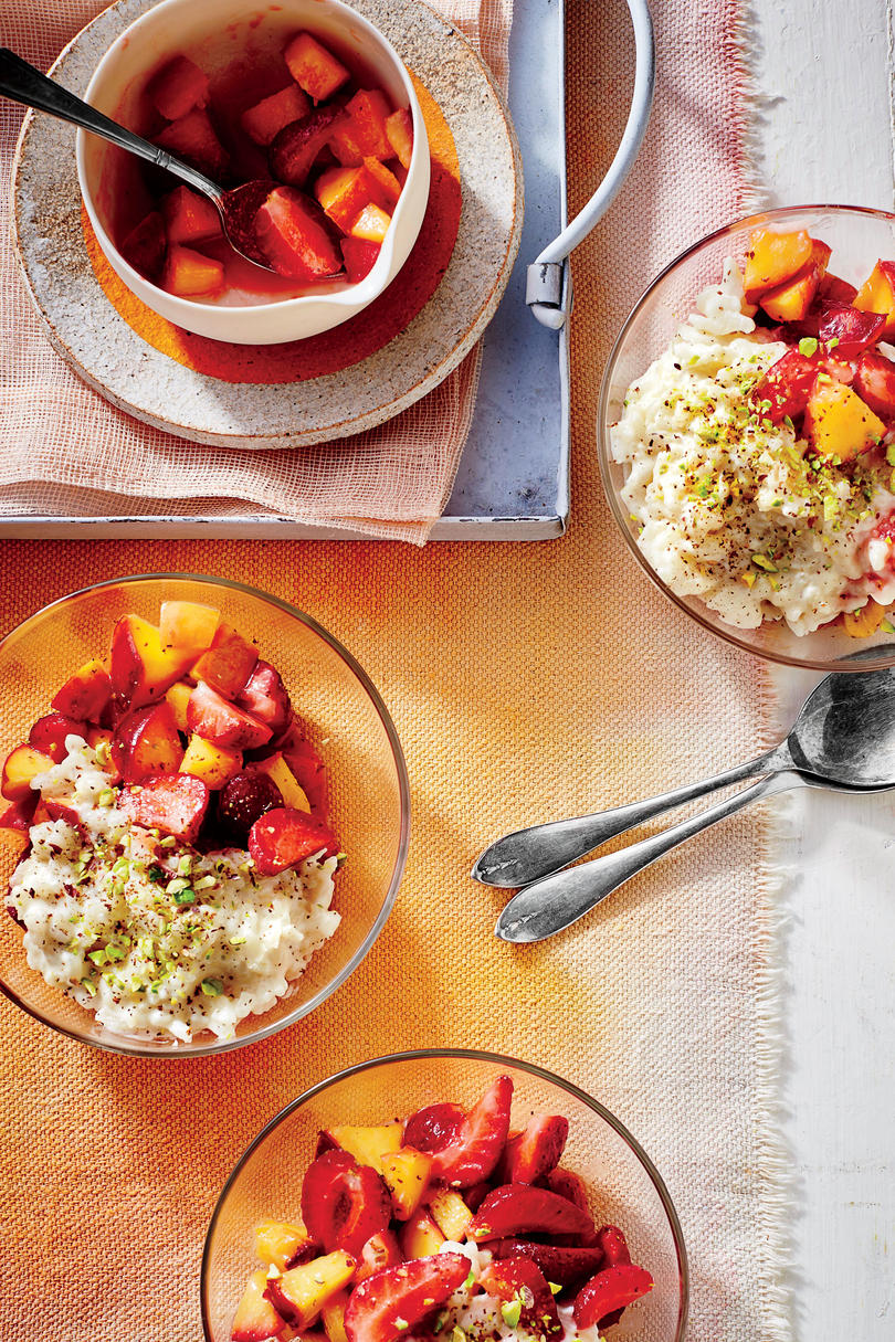 Coconut Rice Pudding with Strawberry-Nectarine Compote