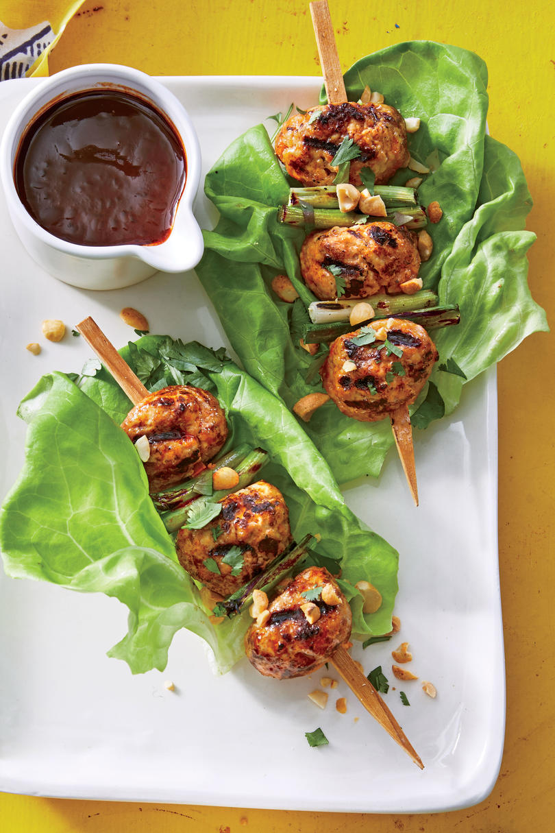 Grilled Pork Meatball Kebabs