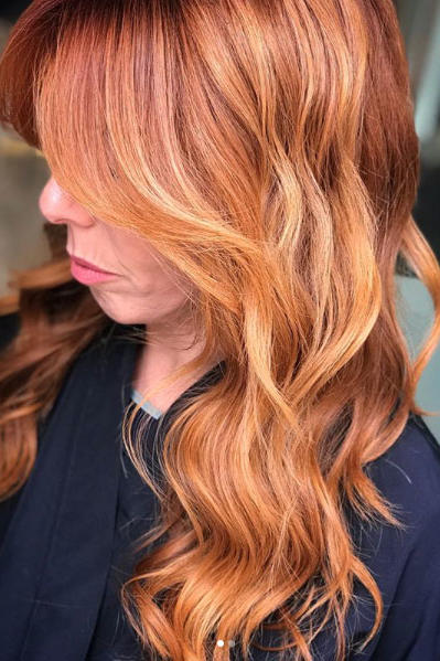 Bright Copper Red with Apricot and Strawberry Blonde Balayage