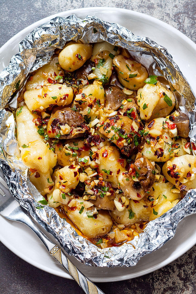 Garlic Butter Mushrooms and Gnocchi Foil Packets