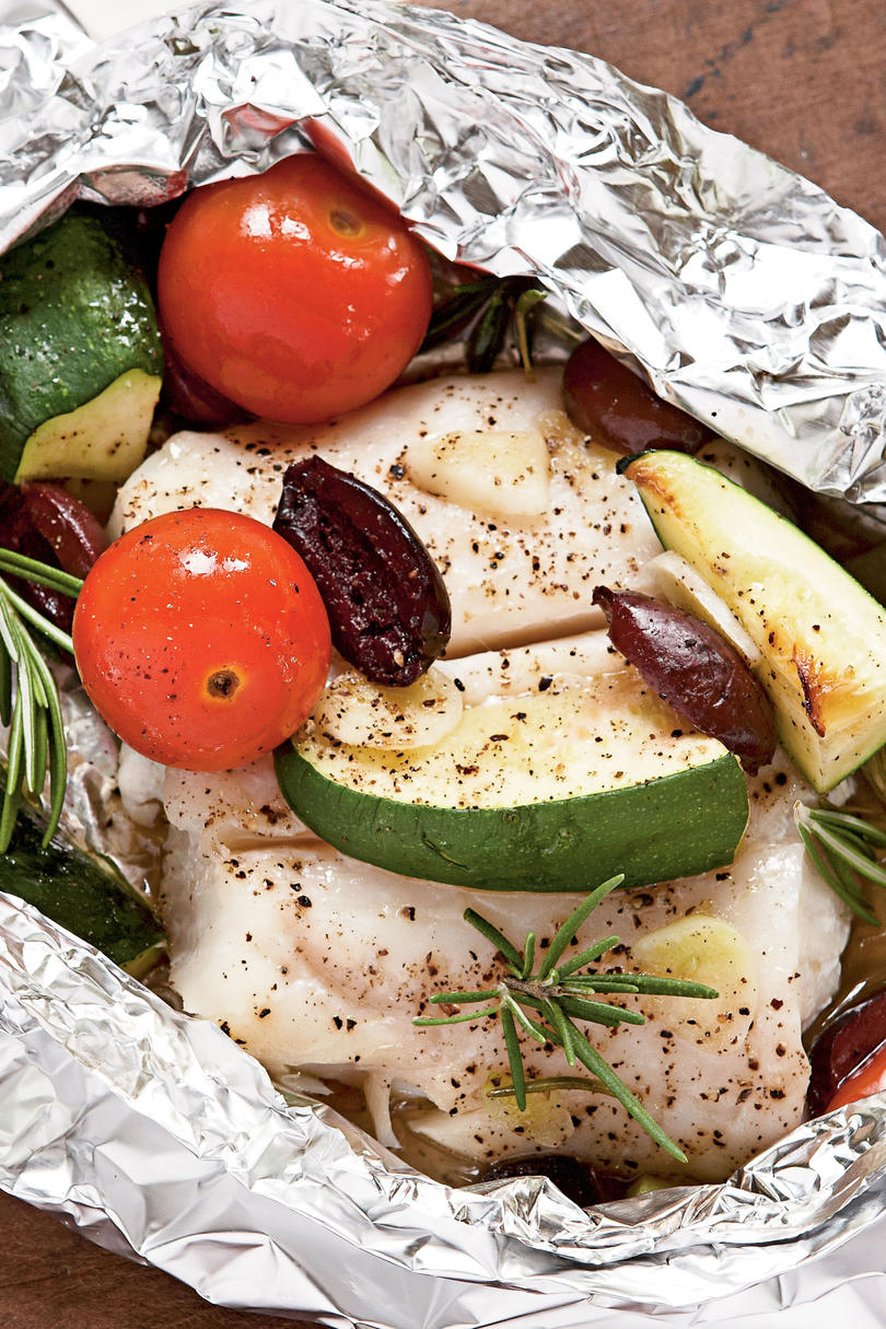 Halibut with Tomatoes, Rosemary, and Zucchini