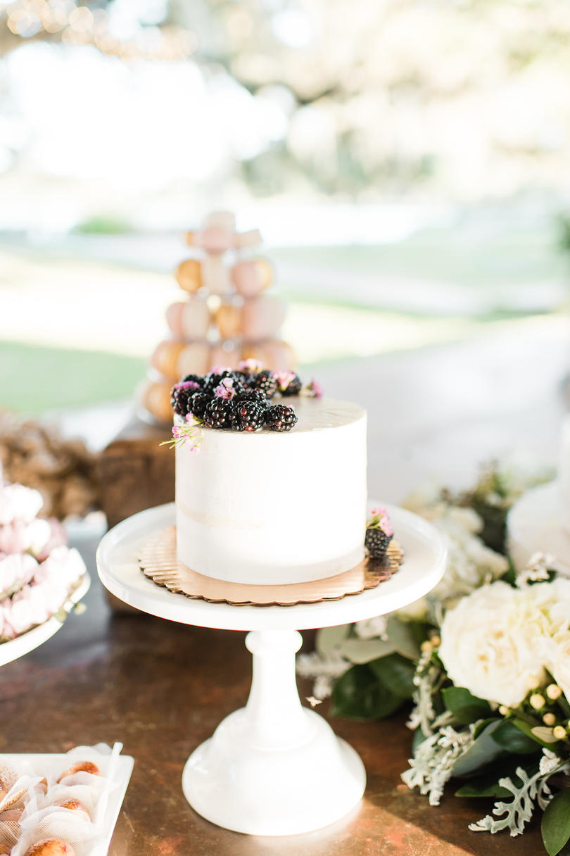 White Wedding Cake Berries on Top