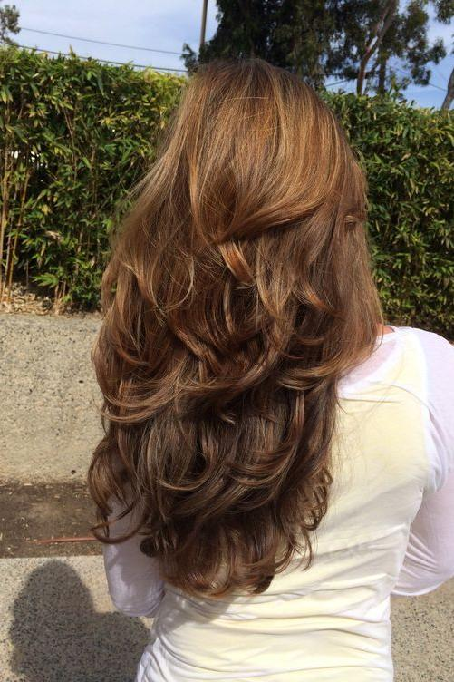 Layered Hair with Soft Waves