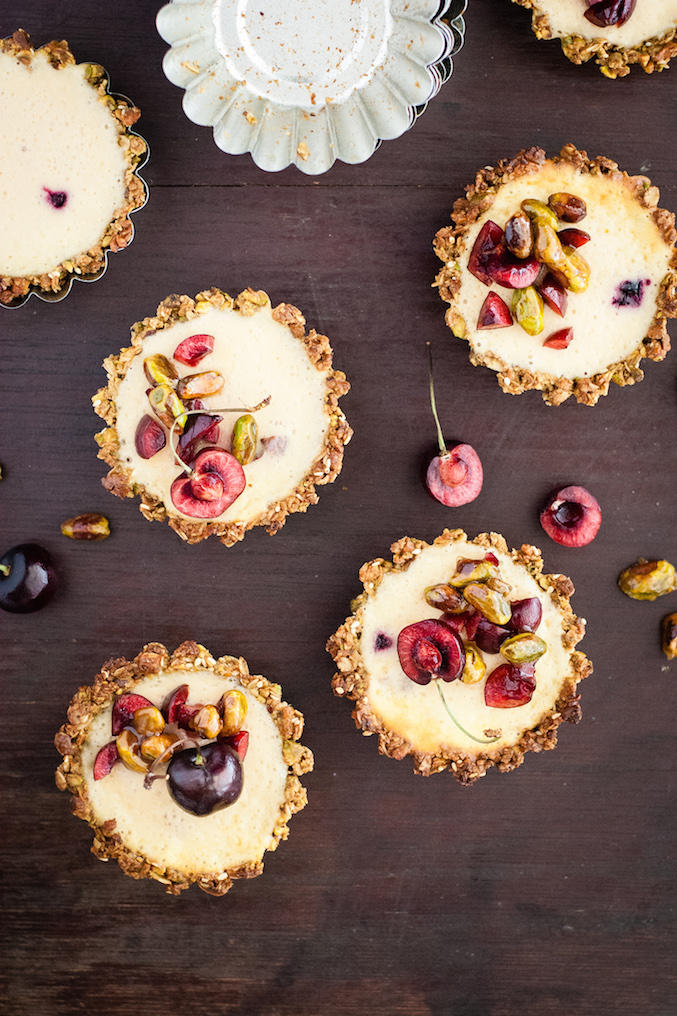 Pistachio and Cherry Yogurt Cheesecake Tarts