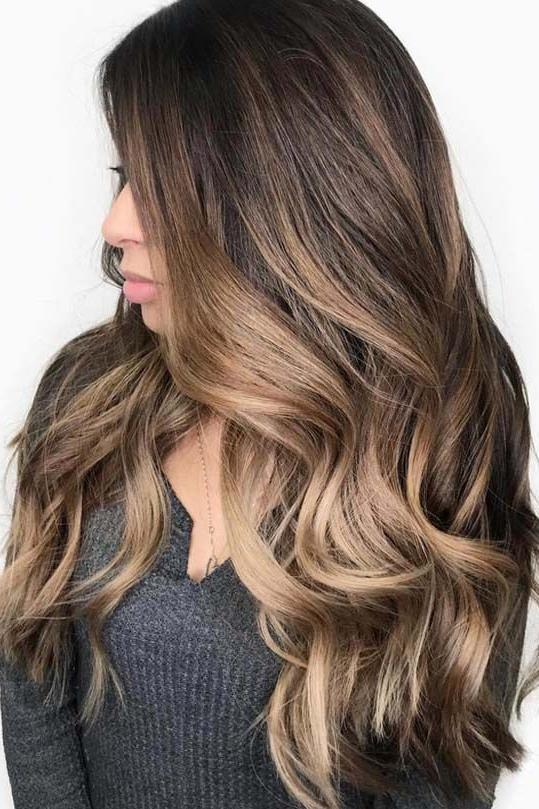 Brunette Balayage with Golden Hues