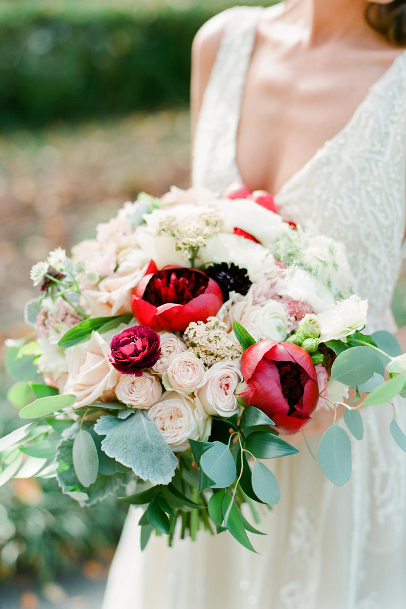 Dusty Rose and Deep Merlot Bridal Bouquet