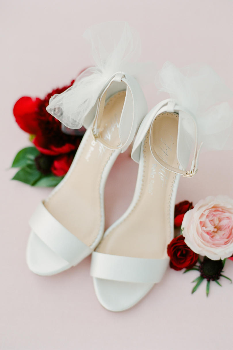 White Bridal Shoes Tulle Bow