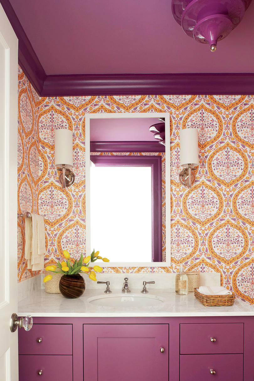 Andrew Howard Colorful Makeover Purple and Orange Powder Room