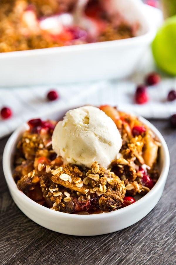 Cranberry Apple Crisp with Oatmeal Ginger Snap Topping