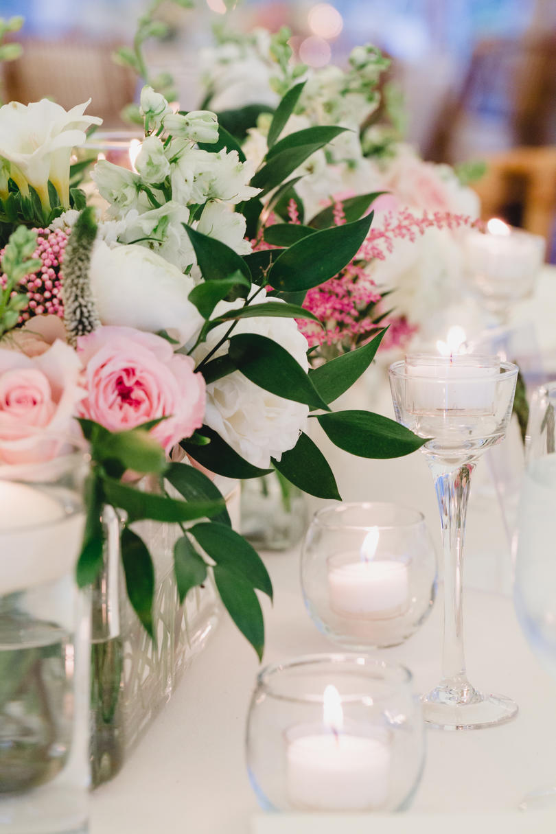 Wedding Reception Floral Centerpiece with Candles