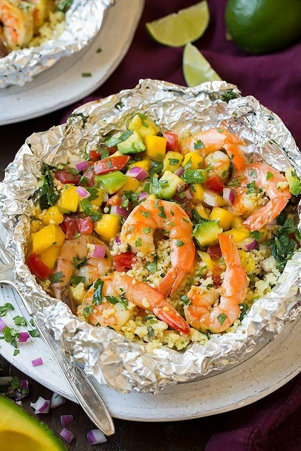 Shrimp and Couscous Foil Packets with Avocado-Mango Salsa