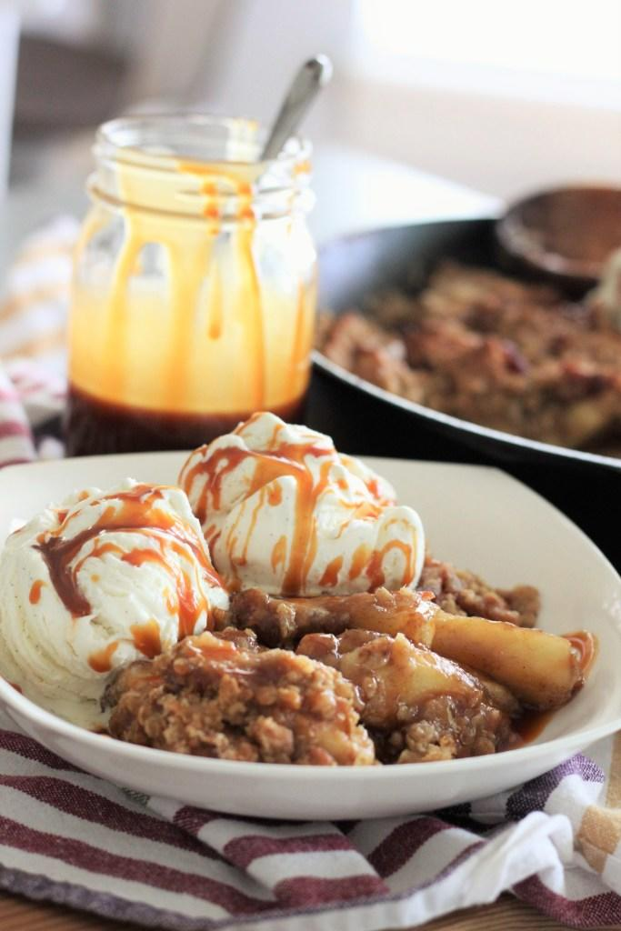 Skillet Bacon Apple Crisp with Salted Bourbon Caramel