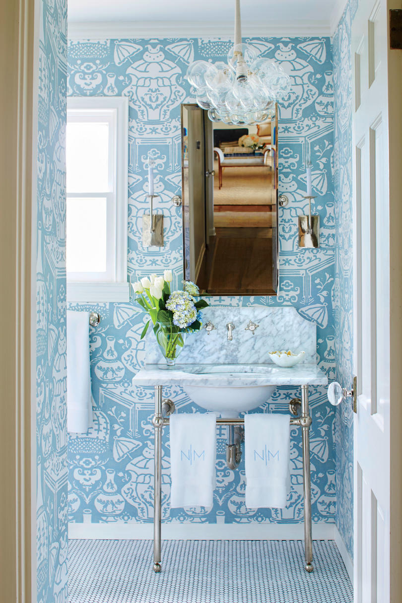 Nicola McLaughlin San Antonio, TX Home Guest Bathroom Blue and White